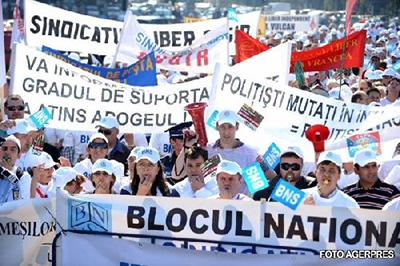 Protest cu imbranceli in Capital. Mii de sindicalisti au marsaluit prin Bucuresti