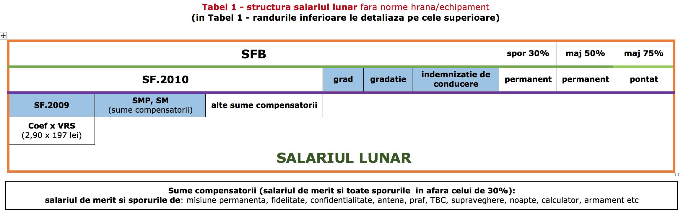 Tabel 1 structura salariu
