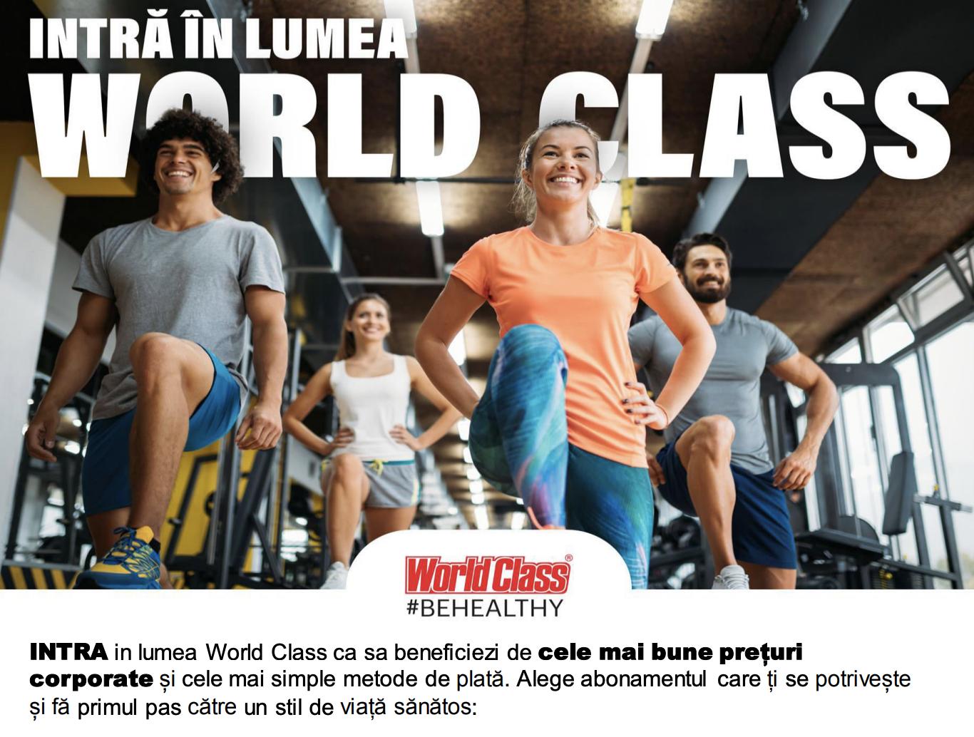 Reducere la abonamente sportive de top – oferta WorldClass pentru PUBLISIND